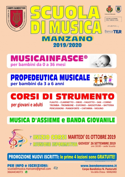 locandina scuola musica 2019 20
